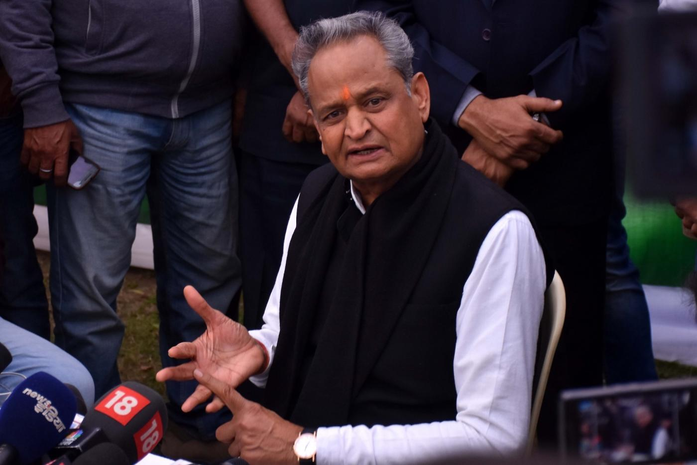Jaipur: Congress leader Ashok Gehlot addresses a press conference in Jaipur on Dec 11, 2018. (Photo: IANS) by .