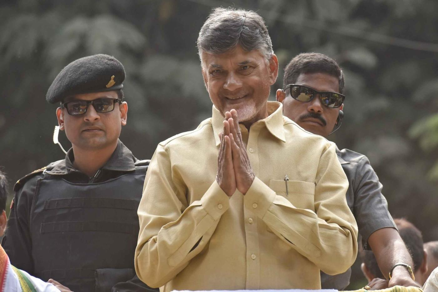 Hyderabad: Andhra Pradesh Chief Minister and TDP supremo N. Chandrababu Naidu during a roadshow in Hyderabad on Dec 3, 2018. (Photo: IANS) by .
