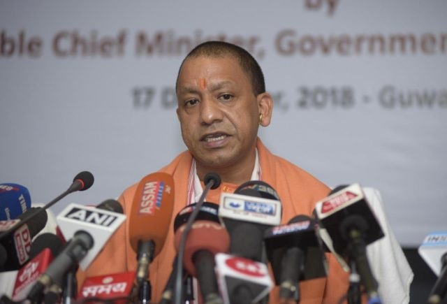 Guwahati: Uttar Pradesh Chief Minister Yogi Adityanath addresses a press conference in Guwahati on Dec 17, 2018. (Photo: IANS) by .