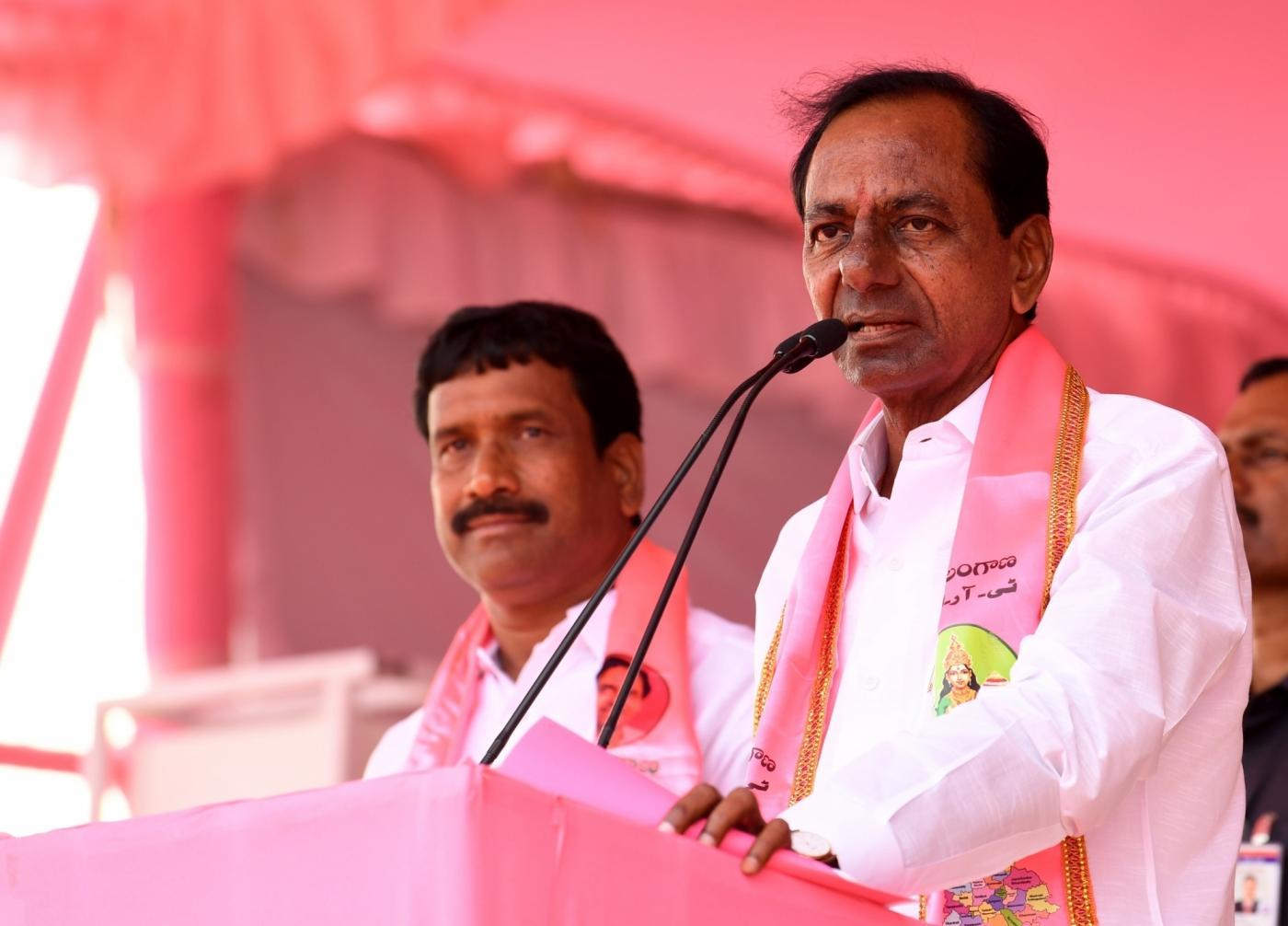 Kodangal: Telangana Rashtra Samithi (TRS) chief K Chandrasekhar Rao addresses a party rally at Kodangal in Mahbubnagar District of Telangana on Dec 4, 2018. (Photo: IANS) by .