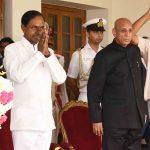 Hyderabad: Telangana Rashtra Samithi (TRS) leader K. Chandrashekhar Rao takes oath as the Chief Minister of Telangana at Raj Bhawan in Hyderabad on Dec 13, 2018. Governor E.S.L. Narasimhan administered the oath of office and secrecy to him. (Photo: IANS) by .