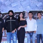 "Mumbai: Actors Farhan Akhtar, Yash and Srinidhi Shetty with producers Vijay Kirgandur and Ritesh Sidhwani at the trailer launch of their upcoming film ""K.G.F"" in Mumbai, on Dec 5, 2018. (Photo: IANS) by ."