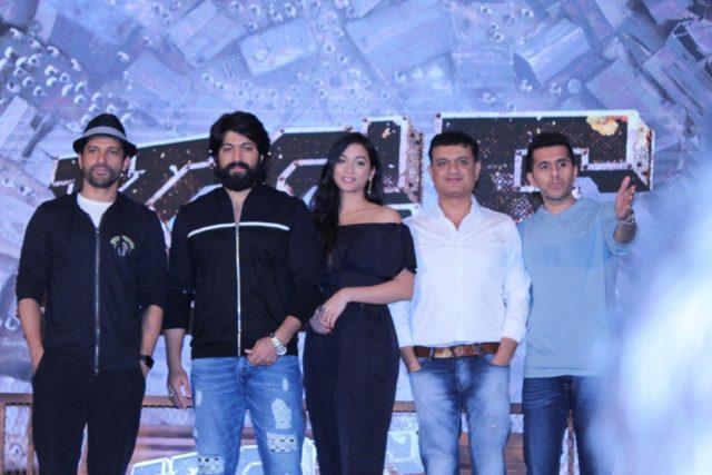 Mumbai: Actors Farhan Akhtar, Yash and Srinidhi Shetty with producers Vijay Kirgandur and Ritesh Sidhwani at the trailer launch of their upcoming film