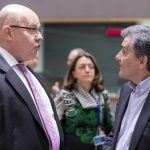 BRUSSELS, March 12, 2018 (Xinhua) -- German Finance Minister Peter Altmaier (L) talks with Greek Finance Minister Euclid Tsakalotos (R) prior to a meeting of Eurogroup finance ministers in Brussels, Belgium, March 12, 2018. Eurogroup President Mario Centeno said Monday that the eurozone bailout fund is expected to disburse the next tranche, worth 5.7 billion euros (7.03 billion U.S. dollars), to Greece in the second half of March. (Xinhua/Thierry Monass/IANS) by .