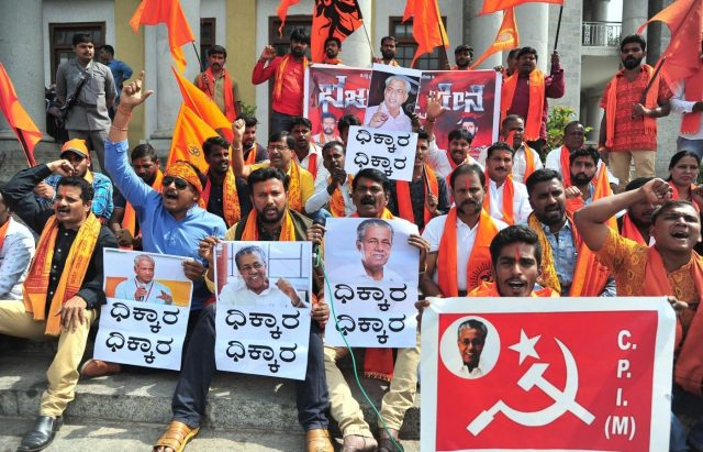 Bengaluru: Bajrang Dal members stage a demonstration against Kerala Chief Minister Pinarayi Vijayan and rationalist and author Prof KS Bhagavan, in Bengaluru on Jan 12, 2019. (Photo: IANS) by .