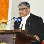 Hyderabad: Justice Thottathil Bhaskaran Nair Radhakrishnan takes oath as the Chief Justice of Hyderabad High Court for the States of Telangana and Andhra Pradesh at a swearing-in ceremony, in Hyderabad on July 7, 2018. (Photo: IANS) by .