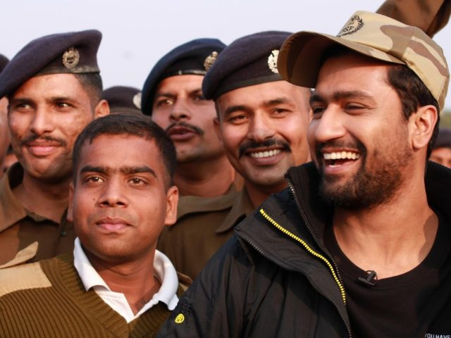 Ghaziabad: Actor Vicky Kaushal with CISF personnel during the promotions of his upcoming film