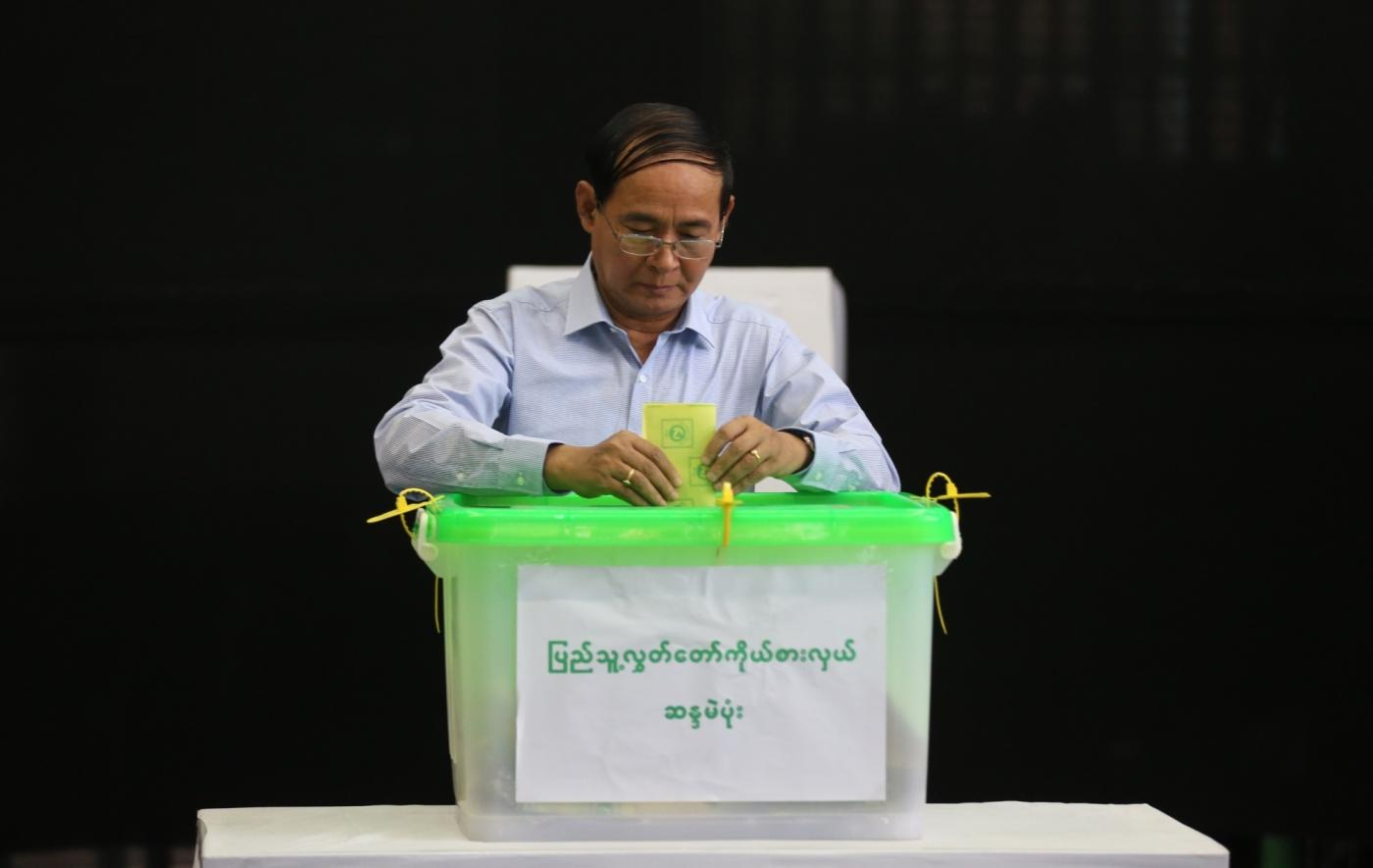 YANGON, Nov. 3, 2018 (Xinhua) -- Myanmar President U Win Myint casts ballot at a polling station in Yangon, Myanmar, Nov. 3, 2018. Myanmar President U Win Myint cast his votes in Yangon's Tarmwe township constituency on Saturday, hours after the country's parliamentary by-elections kicked off in the morning. (Xinhua/U Aung/IANS) by .