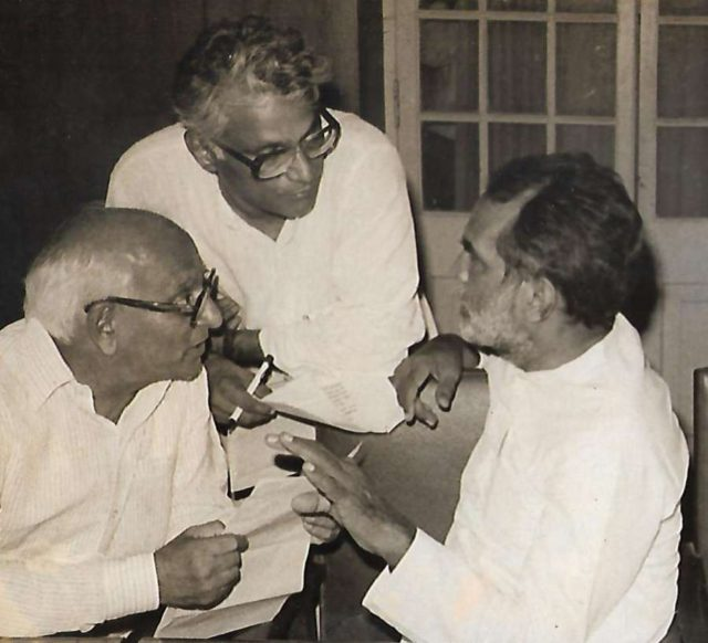 Former Defence Minister George Fernandes with Former Prime Minister Chandra Shekhar and politician Madhu Dandavate seen in an undated photo. (File photo: IANS) by .