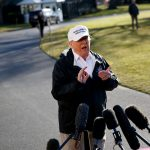 "WASHINGTON, Jan. 10, 2019 (Xinhua) -- U.S. President Donald Trump speaks to reporters before leaving the White House in Washington D.C., the United States, on Jan. 10, 2019. Donald Trump said Thursday he ""would almost say definitely"" that he would declare a national emergency at the U.S.-Mexico border, a controversial option he has been publicly contemplating since last week. (Xinhua/Ting Shen/IANS) by ."