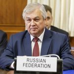 GENEVA, Sept. 11, 2018 (Xinhua) -- Russian President Vladimir Putin's special envoy for Syria Alexander Lavrentiev attends a meeting during the consultations on Syria in Geneva, Switzerland, on Sept. 11, 2018. UN Special Envoy for Syria Staffan de Mistura on Tuesday continued to meet diplomats from Iran, Russia and Turkey in Geneva to discuss the process of moving forward to end the Syrian conflict with constitution-related discussions. (Xinhua/POOL/Salvatore Di Nolfi/IANS) by .