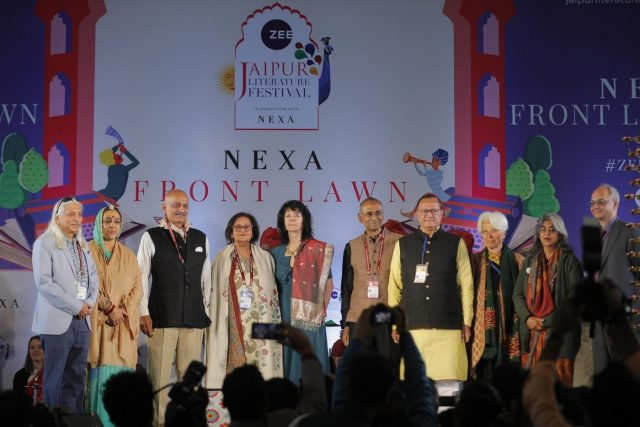 Festival Producer Sanjoy K. Roy, Co-director Namita Gokhale, Nobel Laureate Venki Ramakrishnan, Rajasthan Art and Culture Minister B.D. Kalla, Zee Entertainment Enterprises Ltd. (ZEEL) CEO (Domestic Broadcast) Punit Misra and other dignitaries at the inauguration of 12th Jaipur Literature Festival. by .
