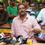 """Mumbai: Actor Nana Patekar addresses a press conference regarding sexual harassment allegations levelled by actress Tanushree Dutta against him, in Mumbai on Oct 8, 2018. He maintained that the """"truth"""" he spoke 10 years ago regarding Tanushree Dutta's accusation of sexual harassment on the sets of a 2008 film, stands true today and will continue to be. Beyond that he said that his lawyer has advised him not to talk about the matter. (Photo: IANS) by ."""
