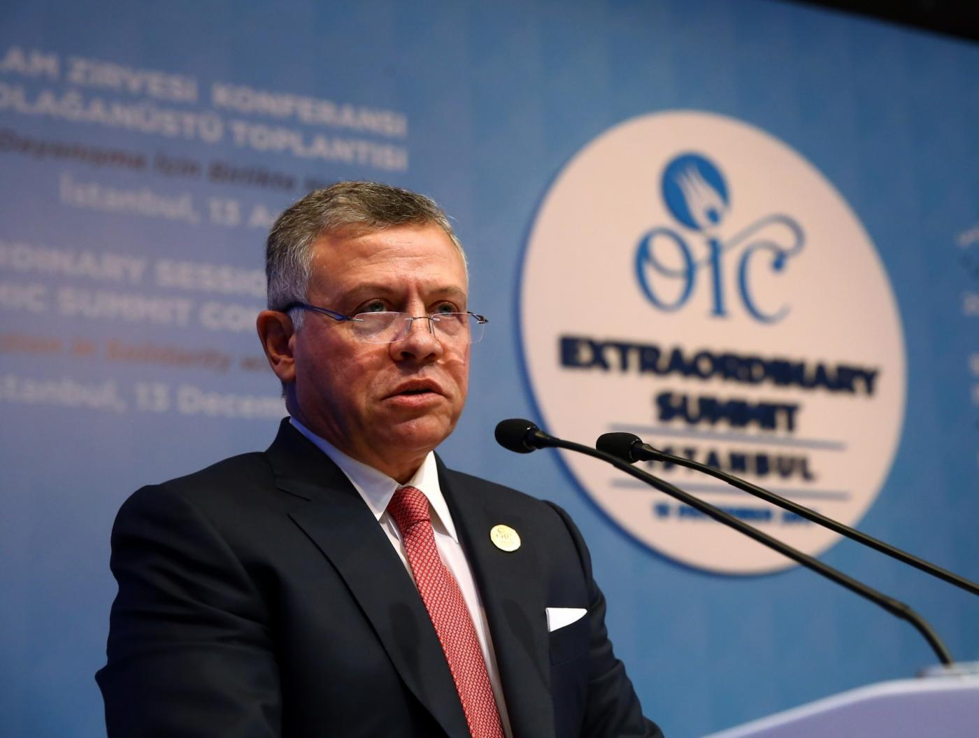 ISTANBUL, Dec. 13, 2017 (Xinhua) -- Jordanian monarch King Abdullah II delivers a speech during the extraordinary summit of the Organization of Islamic Cooperation (OIC) in Istanbul, Turkey, on Dec. 13, 2017. Turkish President Recep Tayyip Erdogan on Wednesday urged the Islamic world to recognize Jerusalem as the capital of Palestine, while Palestinian President Mahmoud Abbas refused any U.S. involvement in the peace process. (Xinhua/Anadolu Agency/IANS) by .