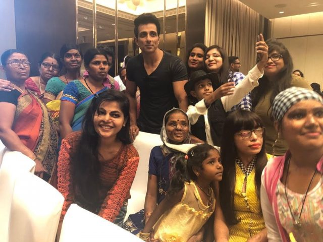 Actor Sonu Sood with volunteers and beneficiaries of Bengaluru-based Atijeevan Foundation. by .