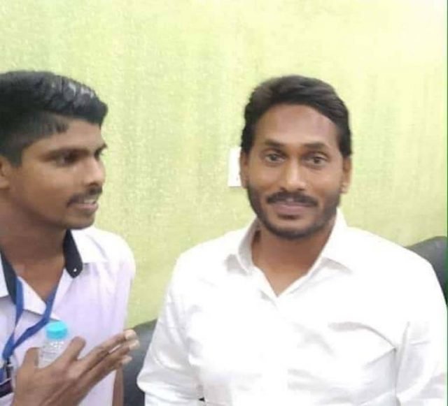 Visakhapatam: Jaripalli Srinivas (L) who attacked YSR Congress Party President Y.S. Jaganmohan Reddy with a knife, according to the police, sneaked up to him with a request to take a selfie, on Oct 25, 2018. The attacker works as a waiter at a restaurant at the airport. A commandant of the Central Industrial Security Force (CISF) overpowered the attacker, who was handed over to police. (Photo: IANS) by .