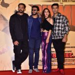 "Mumbai: Director Rohit Shetty and producer Karan Johar with actors Ranveer Singh and Sara Ali Khan at the trailer launch of their upcoming film ""Simmba"" in Mumbai, on Dec 3, 2018. (Photo: IANS) by ."