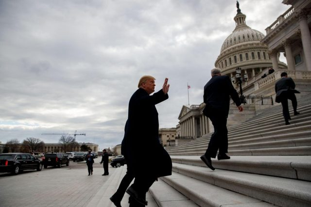 WASHINGTON, Jan. 9, 2019 (Xinhua) -- U.S. President Donald Trump (Front) arrives at the Capitol for a Senate Republican Policy lunch in Washington D.C., the United States, on Jan. 9, 2019. (Xinhua/Ting Shen/IANS) by .