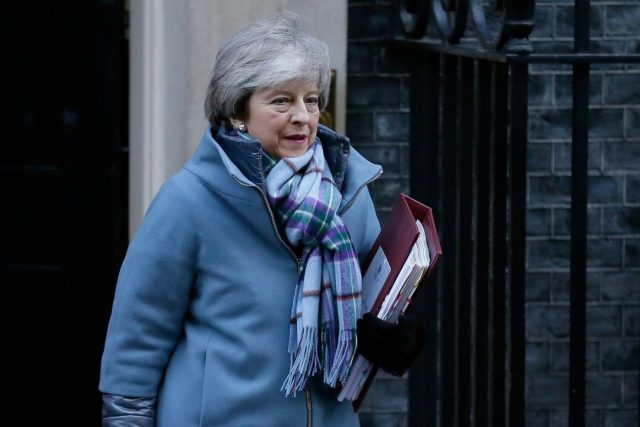 London, Jan. 30, 2019 (Xinhua) British Prime Minister Theresa May leaves 10 Downing Street for Prime Minister's Questions in the House of Commons in London, Britain, on Jan. 30, 2019. The British House of Commons on Tuesday passed an amendment to allow Prime Minister Theresa May to renegotiate a Brexit deal with the European Union (EU) despite repeated warnings from Brussels that it does not want to reopen the treaty signed off by the other 27 EU leaders. (Xinhua/Tim Ireland/IANS) by .