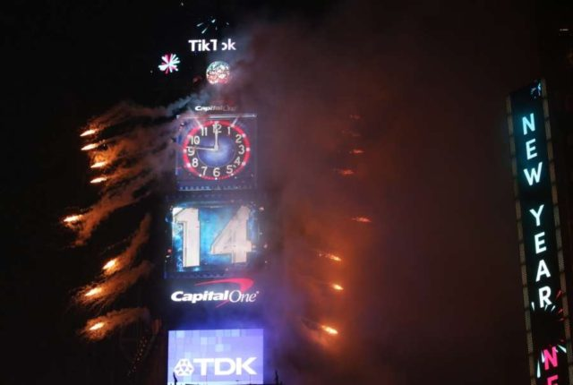 NEW YORK, Jan. 1, 2019 (Xinhua) -- Fireworks go off during the annual New Year's Eve celebration at Times Square in New York, the United States, on Dec. 31, 2018. (Xinhua/Qin Lang/IANS) by .