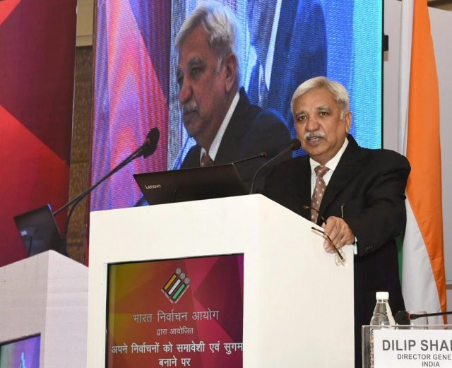 New Delhi: Chief Election Commissioner Sunil Arora addresses at the inauguration of the International Conference on