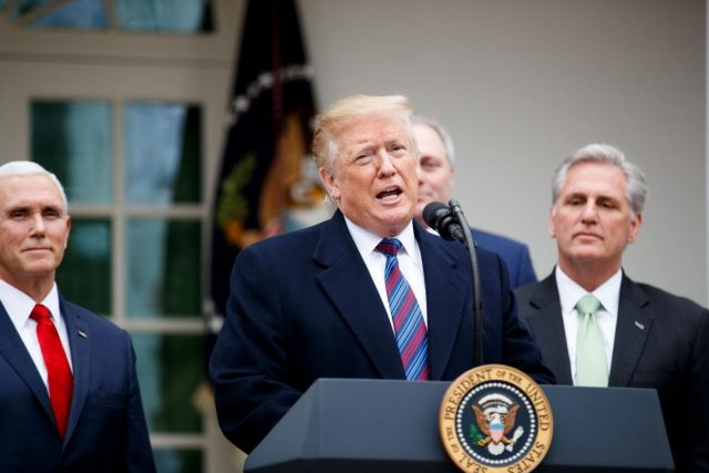 WASHINGTON, Jan. 4, 2019 (Xinhua) -- U.S. President Donald Trump (C) speaks during a press conference at the White House Rose Garden in Washington D.C., the United States, on Jan. 4, 2019. Trump said Friday that he's prepared for a partial government shutdown to last for months or years, after his meeting with Congressional leaders yielded no deal on funding for a U.S.-Mexico border wall. (Xinhua/Ting Shen/IANS) by .