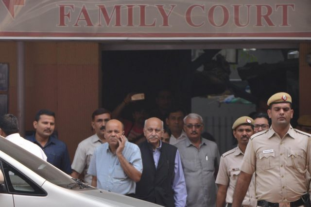 New Delhi: Former Minister M.J. Akbar at a Delhi Court on Oct 31, 2018. The court recorded Akbar's statement as a complainant witness in a criminal defamation suit filed by him against journalist Priya Ramani. Akbar told Additional Chief Metropolitan Magistrate Samar Vishal that the allegations levelled against him by Ramani were false and defamatory and in the process his reputation has been tarnished. (Photo: IANS) by .