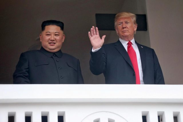 Singapore: U.S. President Donald Trump waves on the veranda of the Capella Hotel in Singapore on June 12, 2018, while having a one-on-one summit with North Korean leader Kim Jong-un in this photo provided by Singapore's Ministry of Communications and Information.(Yonhap/IANS) by .