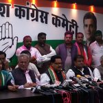 Raipur: Congress leader P.L. Punia accompanied by Chhattisgarh Congress president Bhupesh Baghel and other leaders of the the party, addresses a press conference after the party swept Chhattisgarh Assembly elections, at the party office in Raipur on Dec 11, 2018. (Photo: IANS) by .