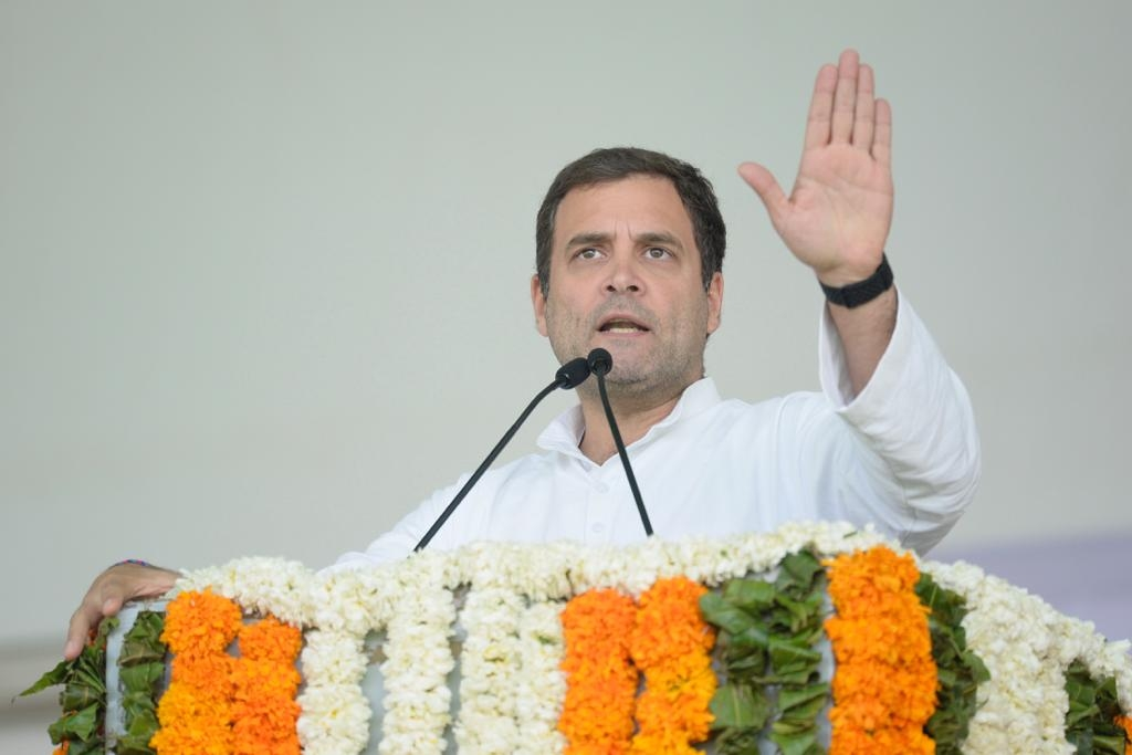 Jaipur: Congress President Rahul Gandhi addresses during a party rally in Jaipur, on Jan 9, 2019. (Photo: IANS) by .