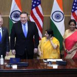 New Delhi: External Affairs Minister Sushma Swaraj and Defence Minister Nirmala Sitharaman with US Secretary of State Mike Pompeo and Defence Secretary James Mattis during high-level 2+2 dialogue in New Delhi on Sept 6, 2018. (Photo: Amlan Paliwal/IANS) by .