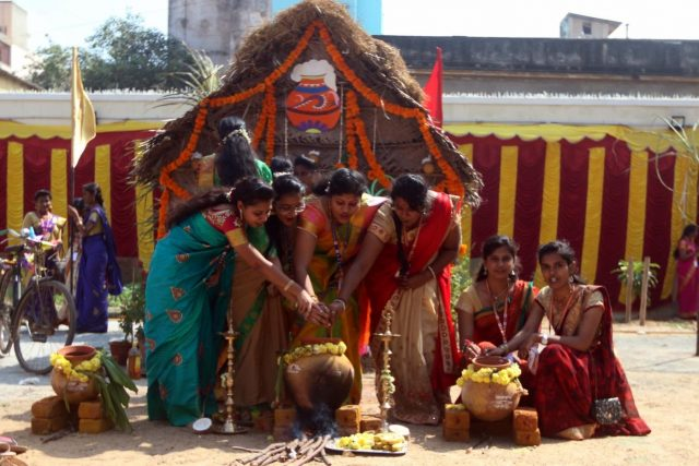 Chennai: Women perform rituals during Pongal celebrations in Chennai, on Jan 12, 2019. (Photo: IANS) by .