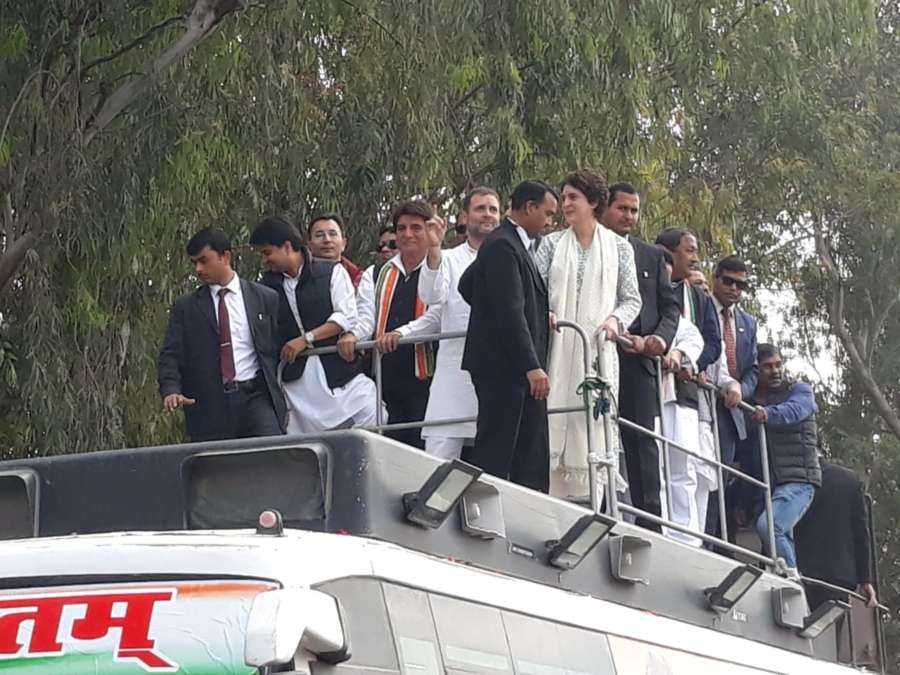 Lucknow: Congress leades Rahul Gandhi, Priyanka Gandhi Vadra and Jyotiraditya Scindia during a road show in Lucknow on Feb 11, 2019. (Photo: IANS) by .