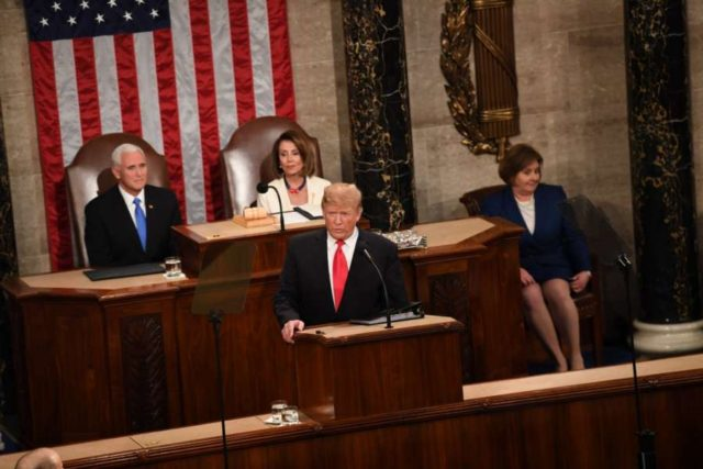 WASHINGTON, Feb. 6, 2019 (Xinhua) -- U.S. President Donald Trump delivers his State of the Union address to a joint session of Congress on Capitol Hill in Washington D.C., the United States, Feb. 5, 2019. (Xinhua/Liu Jie/IANS) by .