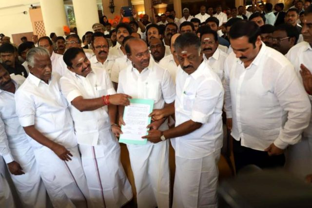 Chennai: AIADMK Coordinator and Deputy Chief Minister O. Panneerselvam and Joint Coordinator and Chief Minister K. Palaniswami with Pattali Makkal Katchi (PMK) founder S. Ramadoss during a discussion on electoral alliance in Chennai, on Feb 19, 2019. According to the alliance, the PMK will get seven Lok Sabha seats and one Rajya Sabha seat.The PMK will support the AIADMK candidates in the ensuing bypolls in Tamil Nadu as well. (Photo: IANS) by .