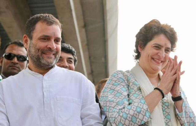Lucknow: Congress President Rahul Gandhi and his sitser Priyanka Gandhi Vadra during a road show in Lucknow on Feb 11, 2019. (Photo: IANS/AICC) by .