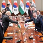 Seoul: South Korean President Moon Jae-in (R) shakes hands with Indian Prime Minister Narendra Modi at the start of an extended summit at the presidential office Cheong Wa Dae in Seoul on Feb. 22, 2019.(Yonhap/IANS) by .