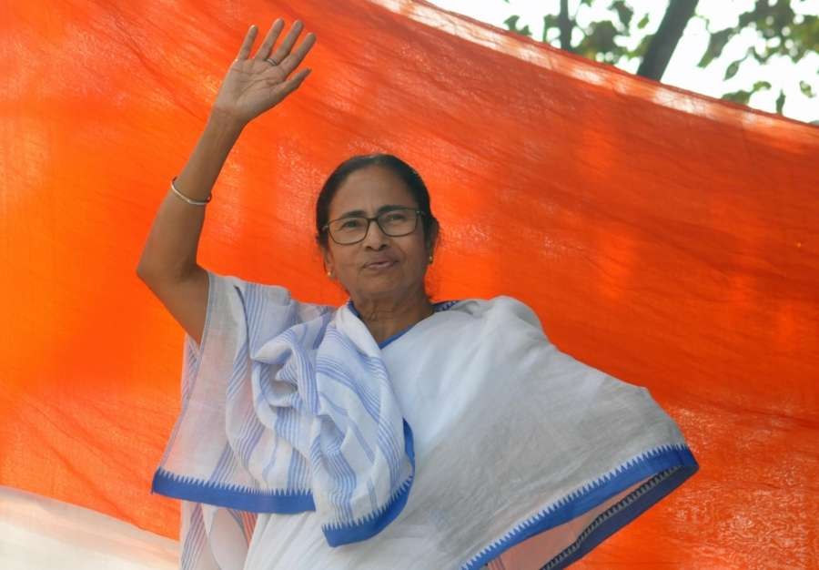 Kolkata: West Bengal Chief Minister Mamata Banerjee during a sit-in (dharna) demonstration over the CBI's attempt to question Kolkata Police Commissioner Rajeev Kumar in connection with a ponzi scheme scam, near the Metro Channel in Kolkata on Feb 4, 2019. (Photo: Kuntal Chakrabarty/IANS) by .
