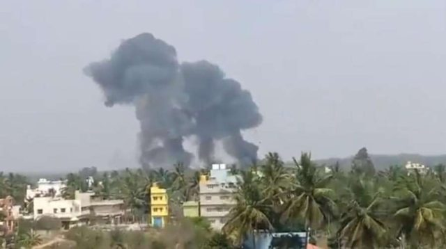 Bengaluru: The site where IAF's two Surya Kiran aircraft crashed in Bengaluru on Feb 19, 2019. (Photo: IANS) by .