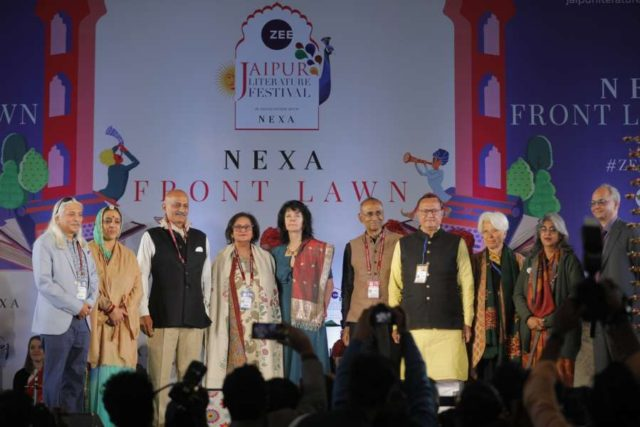 Festival Producer Sanjoy K. Roy, Co-director Namita Gokhale, Nobel Laureate Venki Ramakrishnan, Rajasthan Art and Culture Minister B.D. Kalla, Zee Entertainment Enterprises Ltd. (ZEEL) CEO (Domestic Broadcast) Punit Misra and other dignitaries at the inauguration of 12th Jaipur Literature Festival. by .