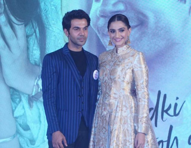 Mumbai: Actors Sonam Kapoor and Rajkummar Rao during a press conference to promote their upcoming film