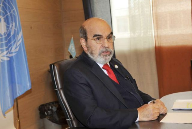 ROME, Nov. 4, 2018 (Xinhua) -- Jose Graziano da Silva, Director-General of the UN Food and Agriculture Organization (FAO), speaks during an interview with Xinhua in Rome, Italy, on Oct. 26, 2018. China has made great achievements in curbing hunger and increasing food security, both domestically and globally, since the launch of its reform and opening-up 40 years ago, according to Graziano da Silva. TO GO WITH Interview: China contributes greatly to curbing global hunger, food security, says FAO chief. (Xinhua/Chen Zhanjie/IANS) by .