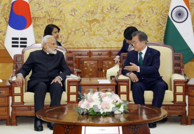 Seoul: South Korean President Moon Jae-in (R) holds a summit meeting with Indian Prime Minister Narendra Modi at the presidential office Cheong Wa Dae in Seoul on Feb. 22, 2019.(Yonhap/IANS) by .