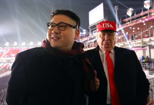 Costume players dressed as North Korean leader Kim Jong-un and U.S. President Donald Trump. (File Photo: IANS) by .