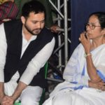 Kolkata: RJD leader Tejashwi Yadav and DMK Rajya Sabha MP Kanimozhi meets West Bengal Chief Minister Mamata Banerjee during a sit-in (dharna) demonstration over the CBI's attempt to question Kolkata Police Commissioner Rajeev Kumar in connection with a ponzi scheme scam, near the Metro Channel in Kolkata on Feb 4, 2019. (Photo: IANS) by .