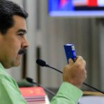 """CARACAS, Feb. 22, 2019 (Xinhua) -- Image provided by Venezuela's Presidency shows Venezuelan President, Nicolas Maduro, taking part in a meeting with the high command of the National Bolivarian Armed Forces, in Caracas, capital of Venezuela, Feb. 21, 2019. Maduro on Thursday ordered the country's southern border with Brazil be sealed off. The measure will be in effect until further notice, the president said during a meeting with the high command of the National Bolivarian Armed Forces. The move comes amid what he called """"provocation"""" from Brazil's right-wing government. Venezuela is also considering sealing its border with Colombia, he added. (Xinhua/VENEZUELAN PRESIDENCY/IANS) by ."""