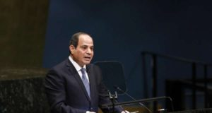 UNITED NATIONS, Sept. 24, 2018 (Xinhua) -- Egyptian President Abdel-Fattah al-Sisi addresses the Nelson Mandela Peace Summit held during the ongoing UN General Assembly's annual top-level meeting at the UN headquarters in New York, on Sept. 24, 2018. UN Secretary-General Antonio Guterres said Monday that Nelson Mandela embodied the highest values of the world body, in remembrance of the late South African leader who was a hallmark in the fight against apartheid. (Xinhua/Li Muzi/IANS) by .
