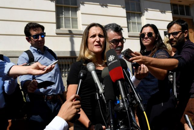 WASHINGTON, Sept. 5, 2018 (Xinhua) -- Canadian Foreign Minister Chrystia Freeland (C, Front) speaks to reporters before a new round of trade talks at Office of the U.S. Trade Representative in Washington D.C., the United States, on Sept. 5, 2018. Negotiators from the United States and Canada on Wednesday resumed trade talks here to bridge their differences on the North American Free Trade Agreement (NAFTA) after the two sides failed to reach a deal last week. (Xinhua/Yang Chenglin/IANS) by .