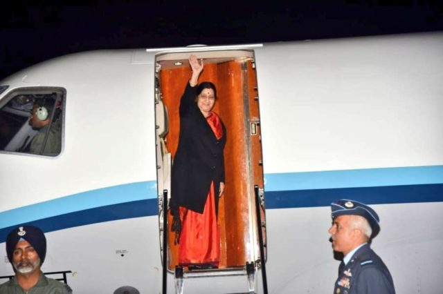 New Delhi: External Affairs Minister Sushma Swaraj leaves for Wuzhen, China to participate in 16th Foreign Ministers Meeting of Russia, India and China, from New Delhi on Feb 26, 2019. (Photo: IANS/MEA) by .