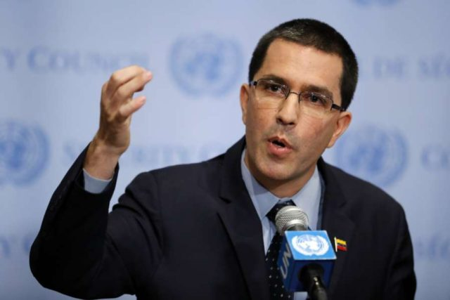 UNITED NATIONS, Aug. 25, 2017 (Xinhua) -- Venezuela's Foreign Minister Jorge Arreaza addresses a press encounter at the United Nations headquarters in New York, on Aug. 25, 2017. New U.S. economic sanctions imposed on Venezuela on Friday as well as U.S. President Donald Trump's recent threat of military force against the South American country are